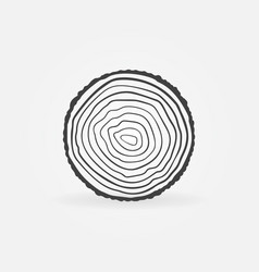 Saw cut tree trunk with rings concept icon vector