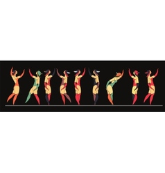 Set circus dancer poster vector