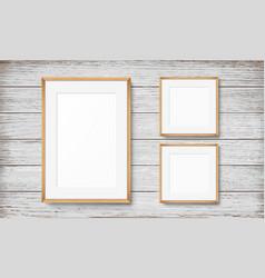 set frames on wooden background vector image