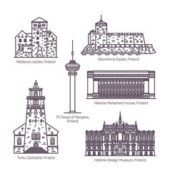 set isolated finland or finnish landmarks vector image