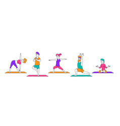 set male and female characters yoga activity vector image