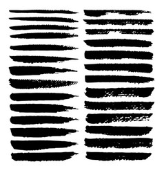 set of brush stroke black ink grunge vector image