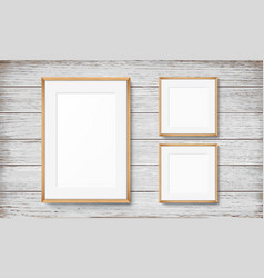 Set of frames on wooden background vector