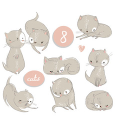 set with cute cartoon kitten vector image