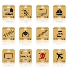Shipping cardboard boxes icons vector