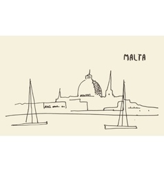 Sketch Malta view hand drawn vector image
