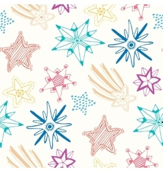 Sketched stars seamless pattern Childish colorful vector image