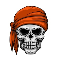 Skull in orange bandana vector