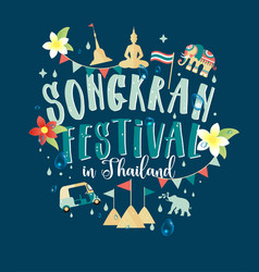 Songkran festival in thailand of april hand drawn vector