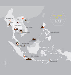 Southeast asia map with country and capital vector