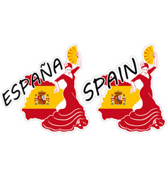 spain in stickers vector image