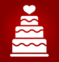 Stacked love cake glyph icon valentines day vector
