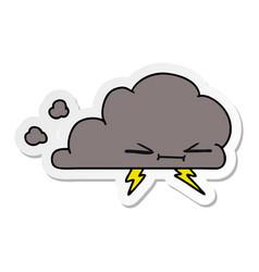 Sticker cartoon of a grumpy lightening cloud vector