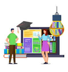 Students near laptop and books electronic library vector