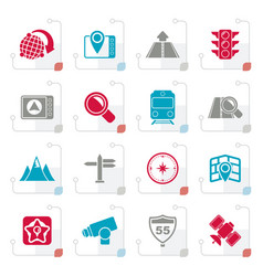 Stylized map navigation and location icons vector