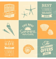 Summer typographic design elements and icons vector