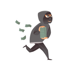 Thief burglar in black mask runs away with money vector