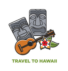 Travel to hawaii poster with stone statues and vector