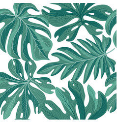 tropical palm leaves seamless pattern beautiful vector image