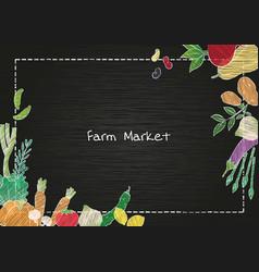 vegetable on blackboard frame background vector image