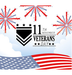 Veterans day celebration with fireworks and flag vector