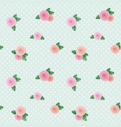 Vintage seamless pattern with roses on polka dots vector