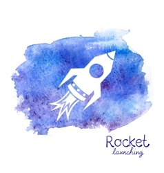 White rocket icon on watercolor background vector