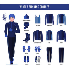 winter running clothes set for man in flat style vector image