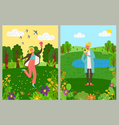 woman in forest gathering flowers green trees vector image