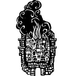Woodcut burning city vector