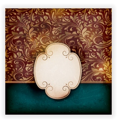 Grungy floral card with label vector image vector image