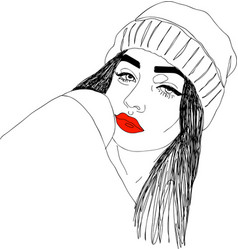 head of young woman with red lips one line design vector image