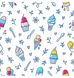 ice cream and botanical pattern vector image