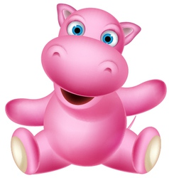 cute baby hippo cartoon sitting vector image vector image