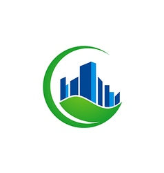 green leaf building ecology environment logo vector image