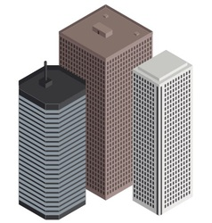 isometric city buildings vector image vector image