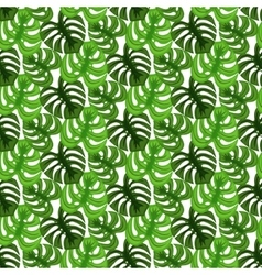 Monstera tropic plant leaves seamless pattern vector image