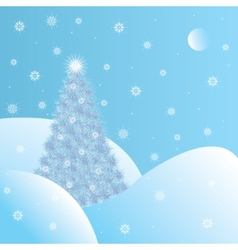 Snowy Christmas tree vector image