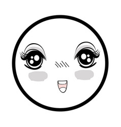 symbol anime surprised happy face woman vector image