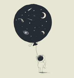 Astronaut keeps a balloon with universe in him vector