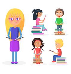 blonde girl holds book full-length reading kids vector image