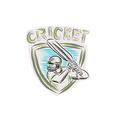 Cricket Player Batsman Batting Shield Etching vector image vector image