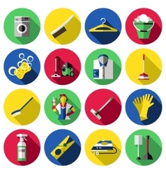 Flat Cleaning Icon Set vector image