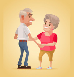 happy smiling grandparents characters dance vector image vector image