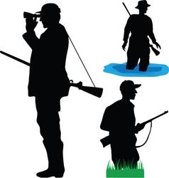 Hunters of wild animals vector