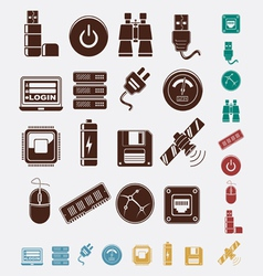 set of hosting icons vector image vector image
