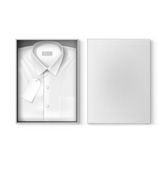 White classic men shirt label in packaging box vector image