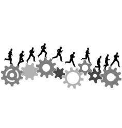 business man runs on gears vector image vector image