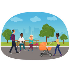 different people are on their daily goings in the vector image