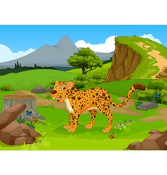 funny Cheetah cartoon in the jungle vector image vector image